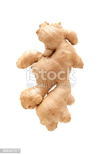 Fresh ginger root isolated on white background.