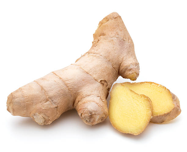 fresh ginger root or rhizome isolated on white background cutout - ginger stock photos and pictures