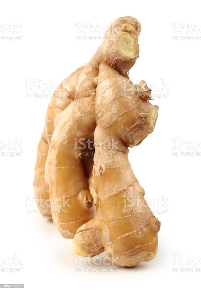Fresh ginger root or rhizome isolated on white background foto stock royalty-free