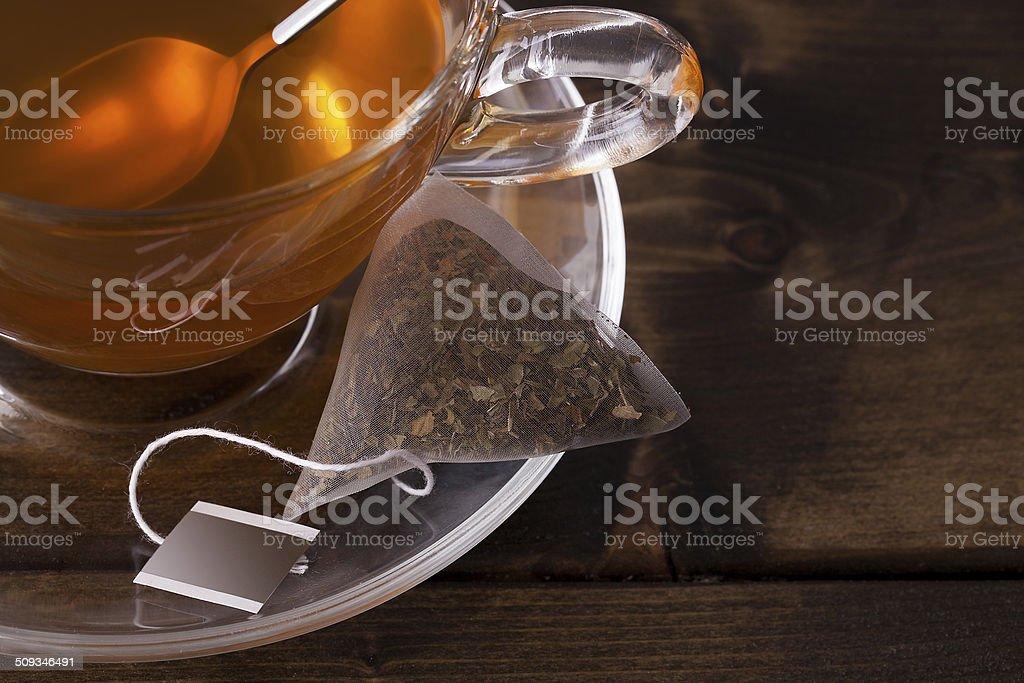 Fresh glass cup of tea stock photo