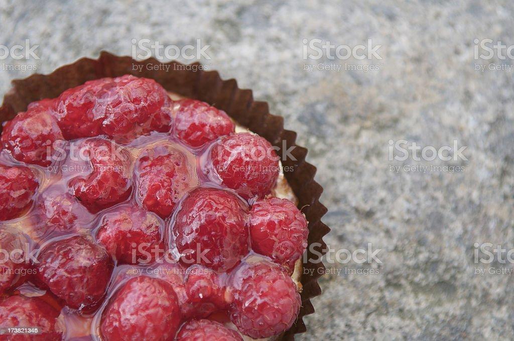 Fresh Gourmet French Raspberry Tart Close-Up royalty-free stock photo
