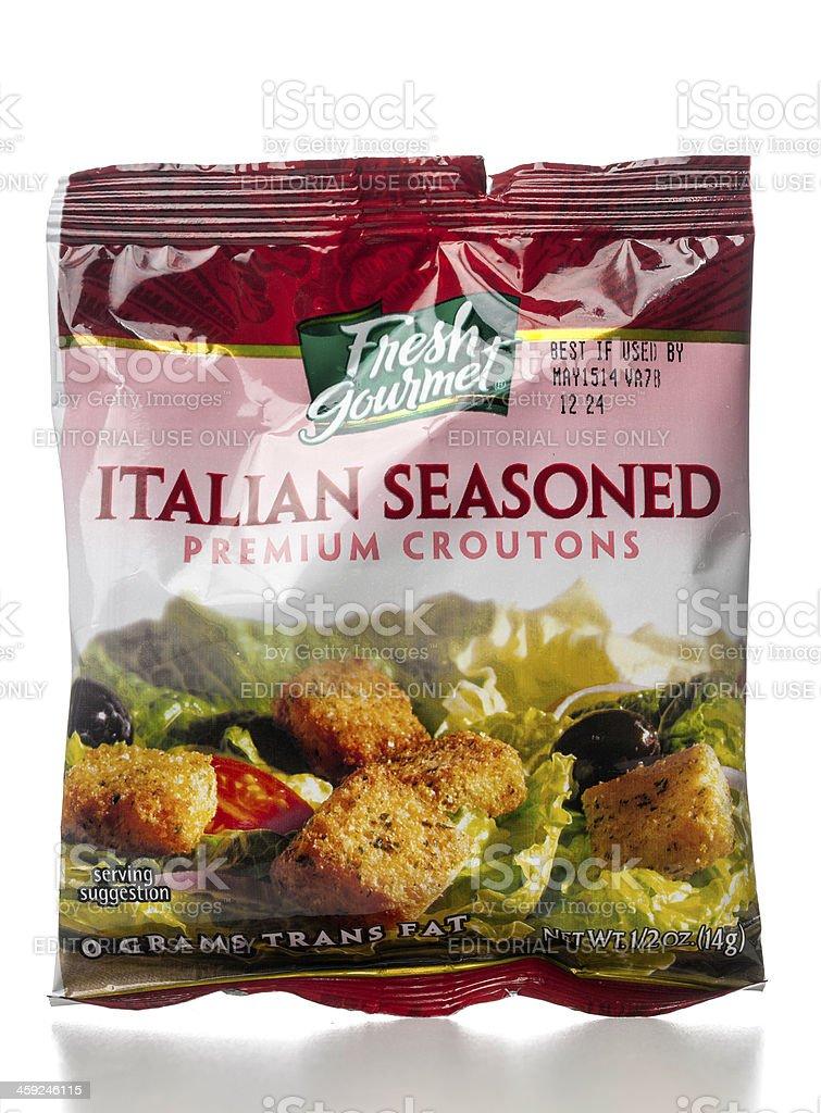 Fresh Gourmet Italian Seasoned Premium Croutons royalty-free stock photo