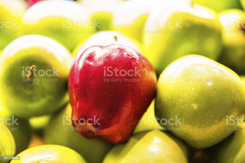 Fresh Granny Smith apples and Delicious apple royalty-free stock photo
