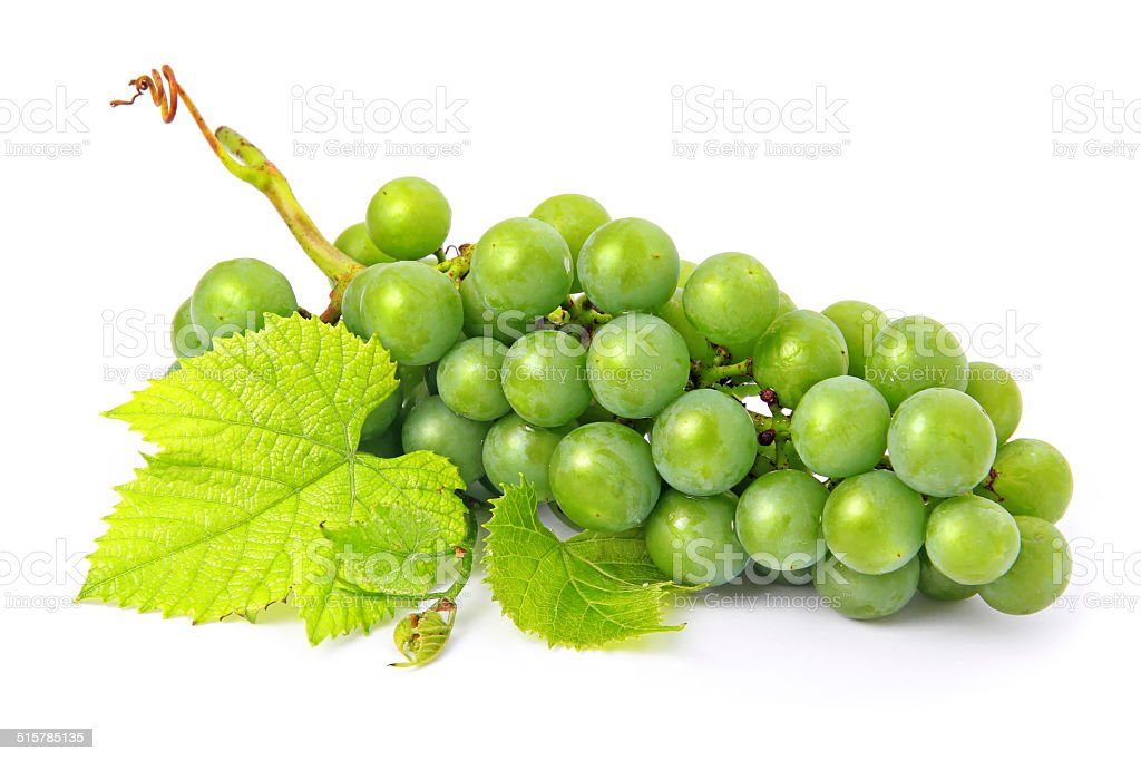 Fresh grape fruits with green leaves isolated stock photo