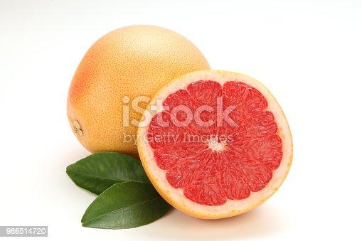 grapefruit with leaf isolated on white background