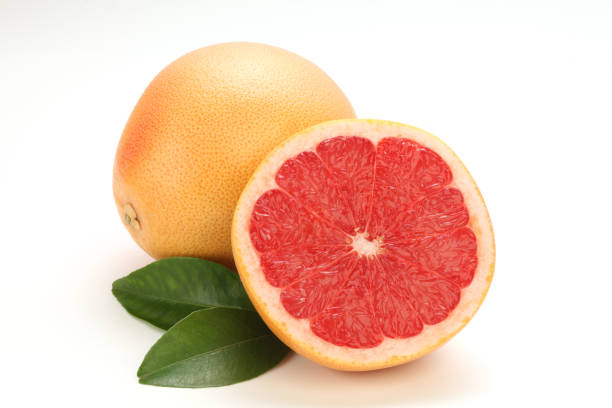 Fresh grapefruit on white background stock photo