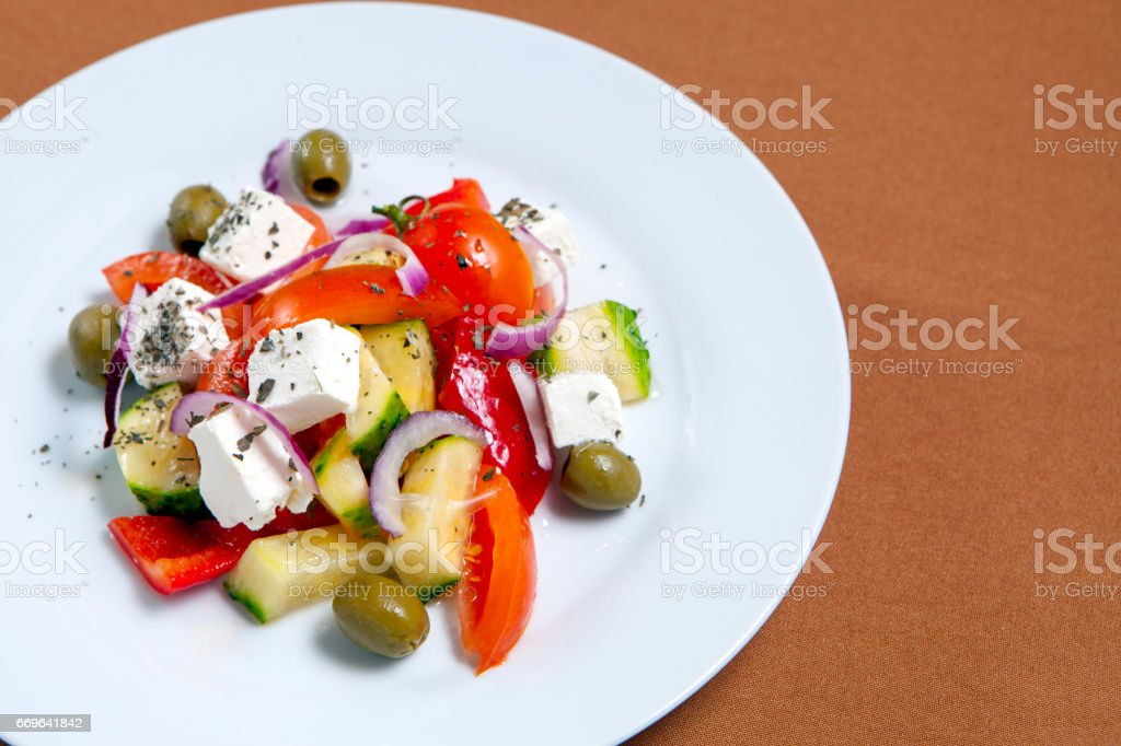 Fresh Greek salad bowl stock photo