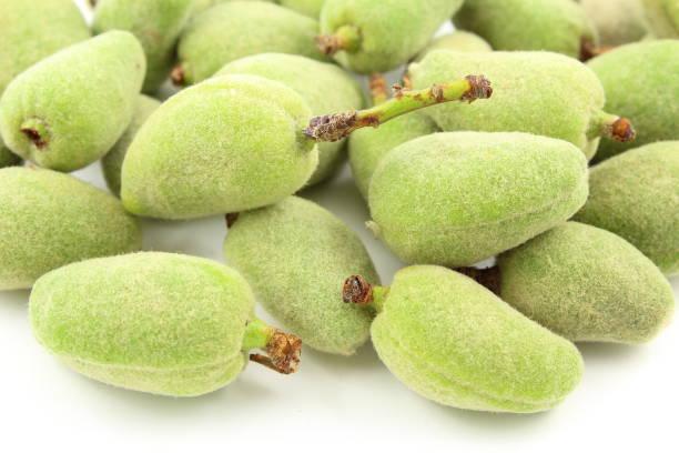 frutas frescas de amêndoaverde - foto de acervo