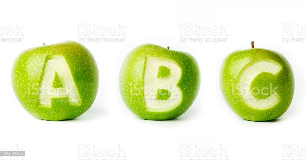 Fresh green apple alphabet. royalty-free stock photo