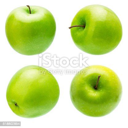The Set of Prefect Cleaned Green Apple Isolated on White Background.