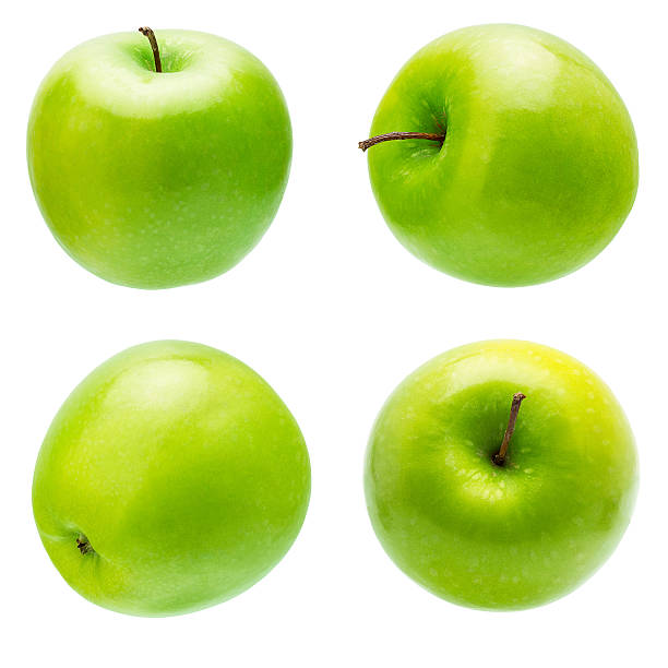 Fresh Green Apple The Set of Prefect Cleaned Green Apple Isolated on White Background. granny smith apple stock pictures, royalty-free photos & images
