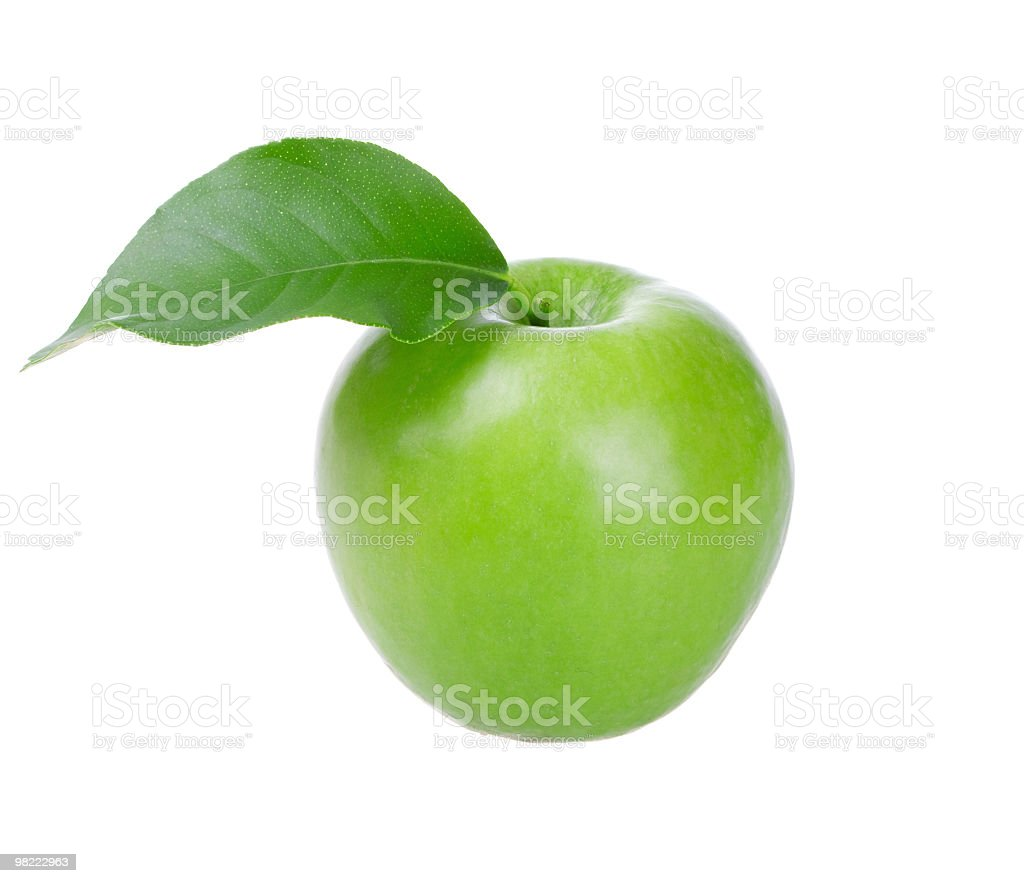 Fresh green apple with leaf royalty-free stock photo