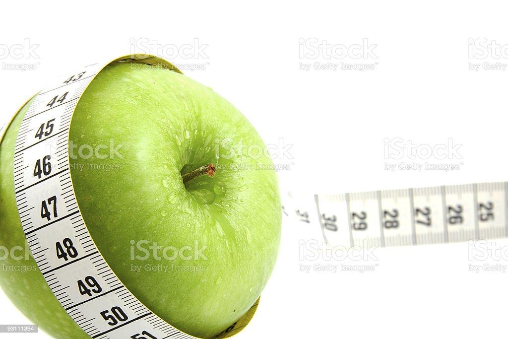 fresh green apple with measure tape - Royalty-free Beyaz Arka Fon Stok görsel