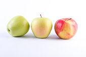 Fresh green apples on a white background