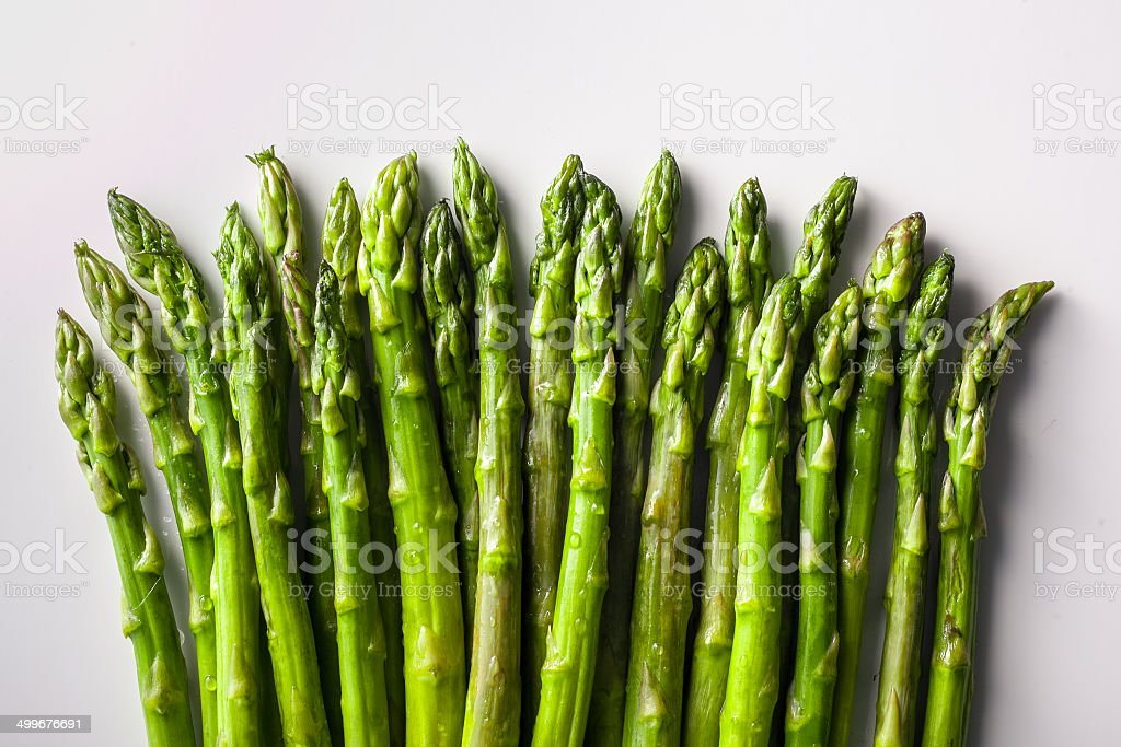 Fresh green asparagus bunch isolated on white stock photo