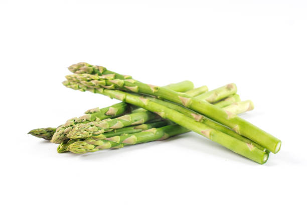 Fresh green asparagus on white stock photo
