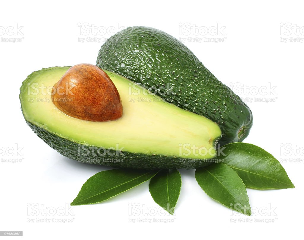 fresh green avocado fruits with leaf isolated on white royalty-free stock photo