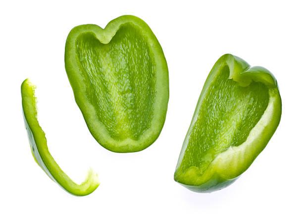 Fresh Green Bell Pepper Slices stock photo