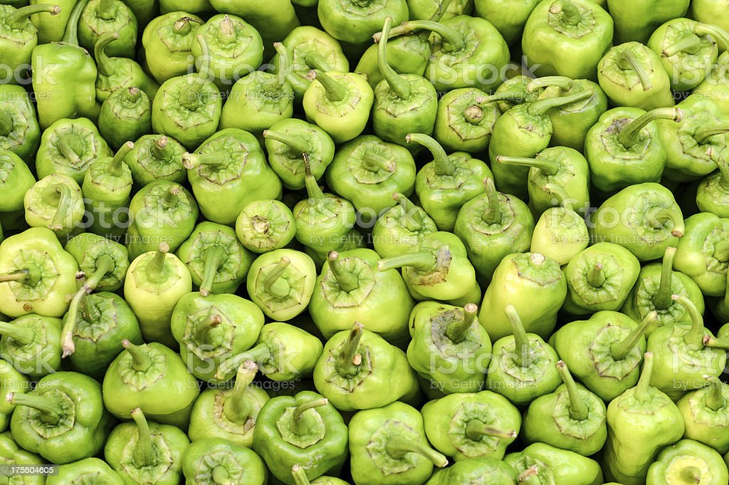Fresh Green Bell Peppers stock photo