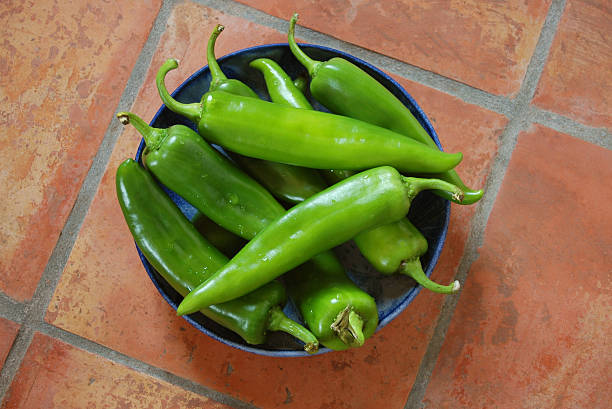 fresh green chiles in ceramic bowl on mexican tiles - green chilli pepper stock photos and pictures