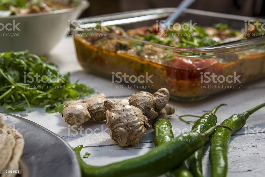 Fresh, green chili and ginger royalty-free stock photo