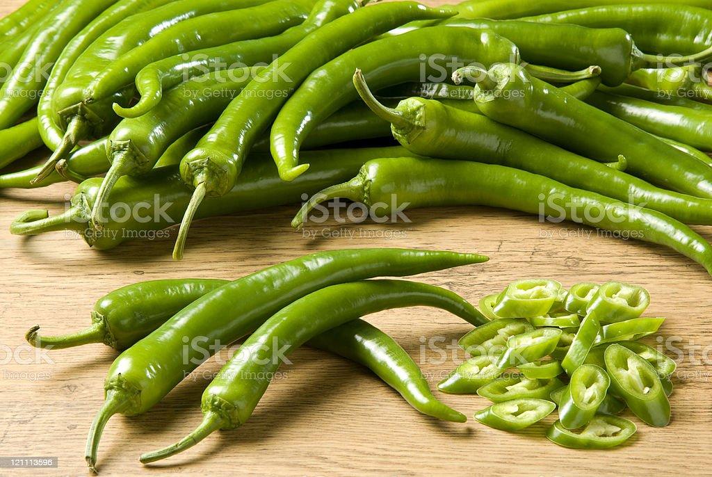 Fresh green chili pepper stock photo