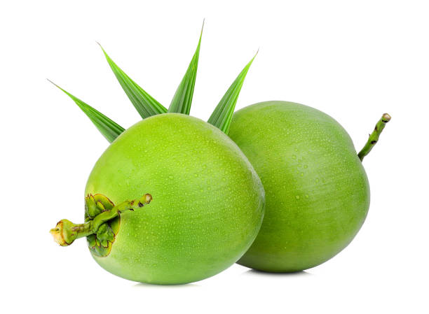 fresh green coconut with green leaf isolated on white background – zdjęcie