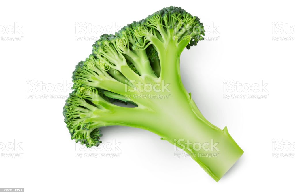 Fresh green cut half of broccoli on white background stock photo
