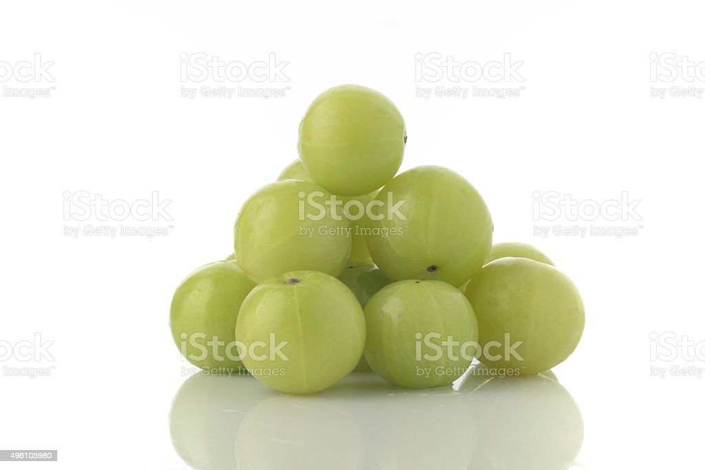 Fresh Green Gooseberries shot in Studio on White background stock photo