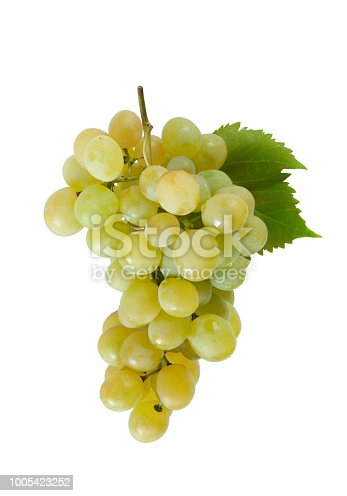 Fresh green grapes branch isolated on white background.