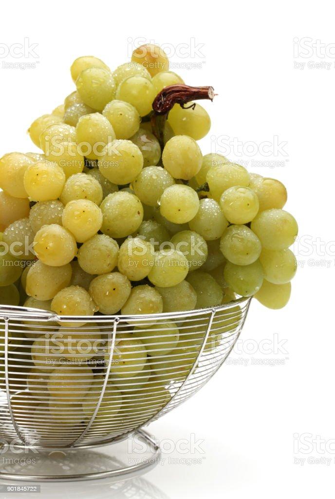 fresh green grapes on white Background stock photo