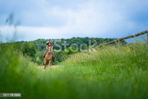 woman riding horse in canter over green meadow on cloudy day in spring low perspective