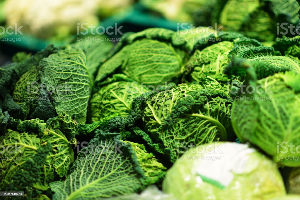 Fresh Green Kale Leaves in supermarket store stock photo