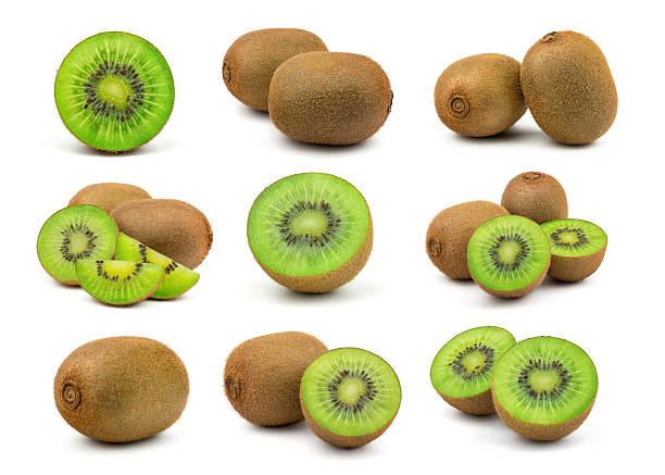 fresh green kiwi fruit - frutto kiwi foto e immagini stock