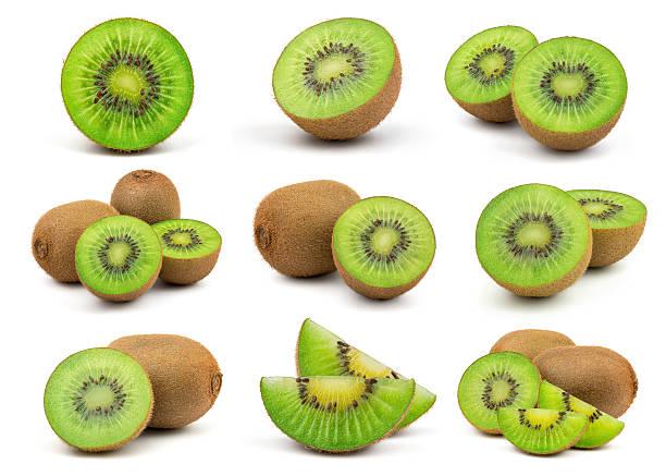 fresh green kiwi fruit - kiwi imagens e fotografias de stock