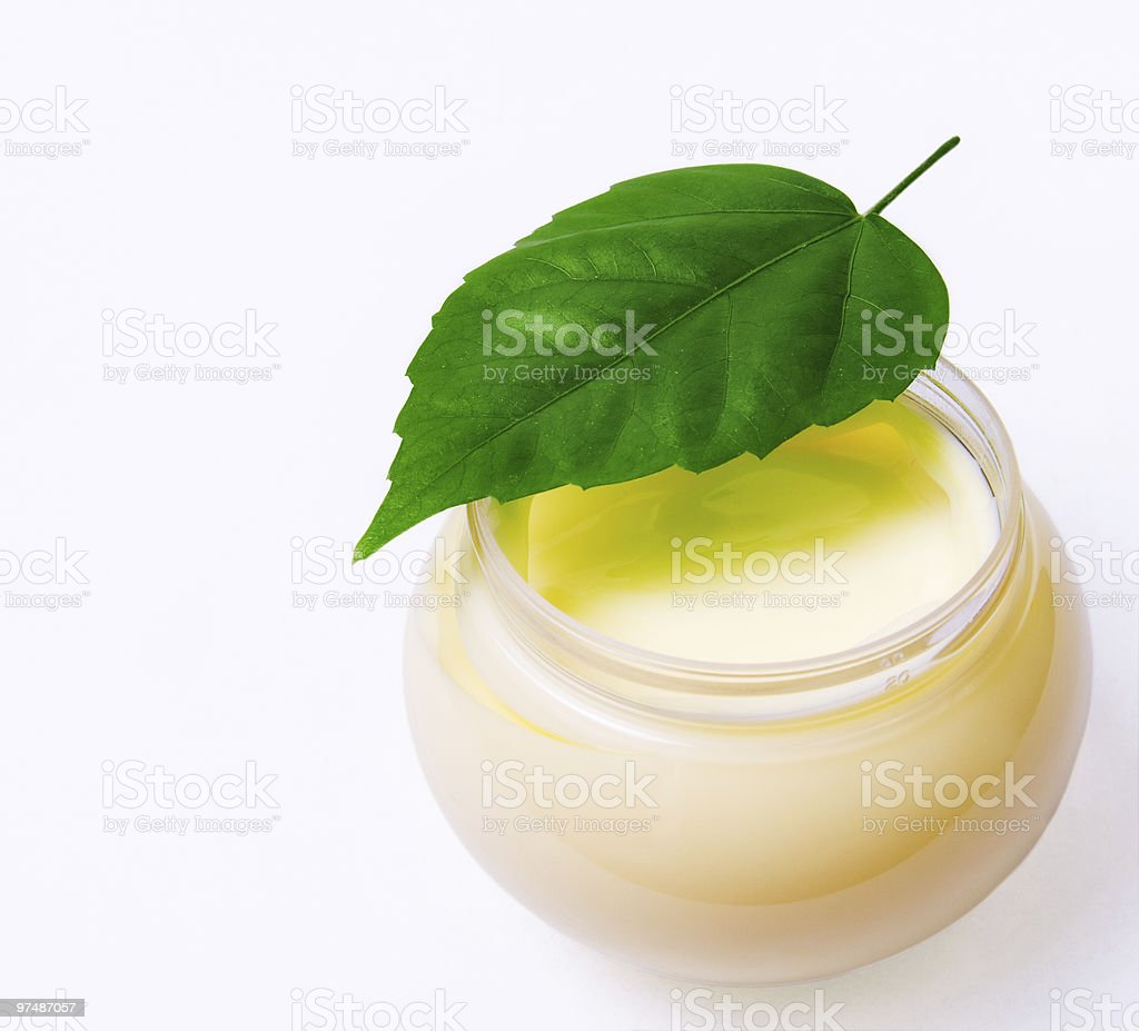 Fresh green leaf and beauty cream isolated royalty-free stock photo