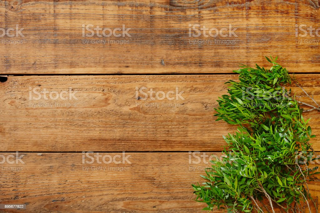 fresh green leaves on wooden surface stock photo