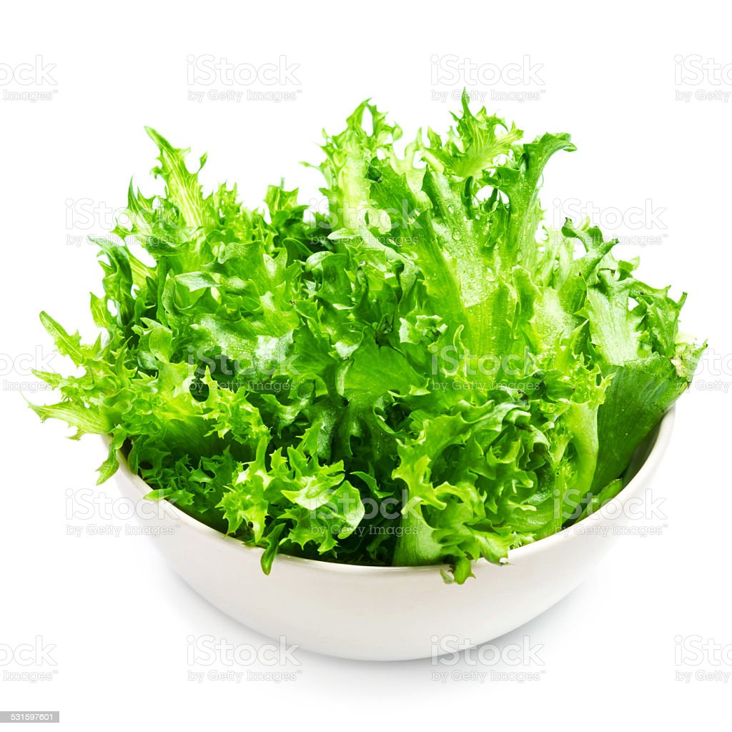 Fresh Green lettuce Salad leaves   Isolated on white background stock photo