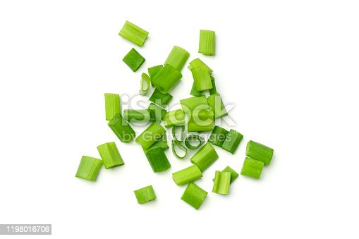 Fresh green onions isolated on white background. Top view