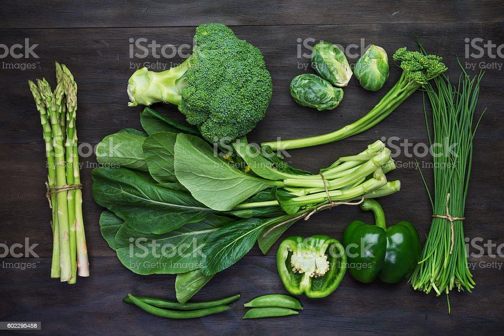 Fresh green organic vegetables stock photo