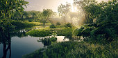 istock Fresh green paradise scenery - amazonian tropical rainforest environment with calm river in beautiful sunset light. 3d rendering. 1222738862