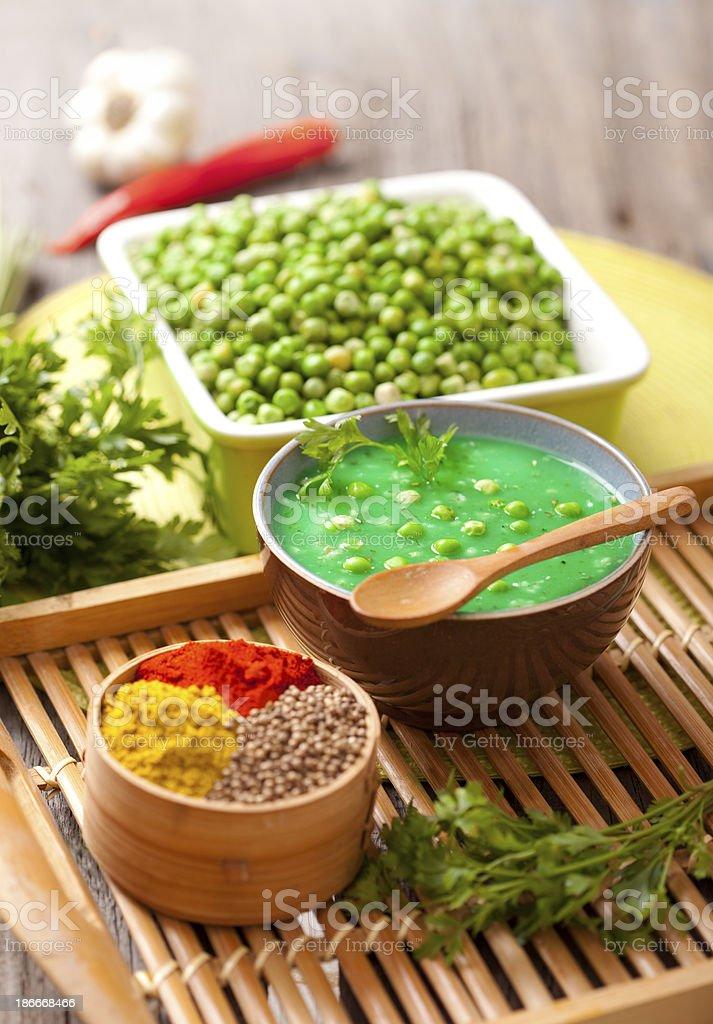Fresh Green Pea Soup royalty-free stock photo