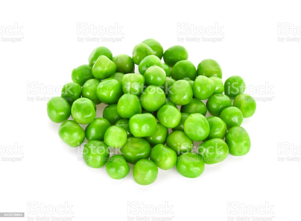 fresh green peas isolated on a white background stock photo