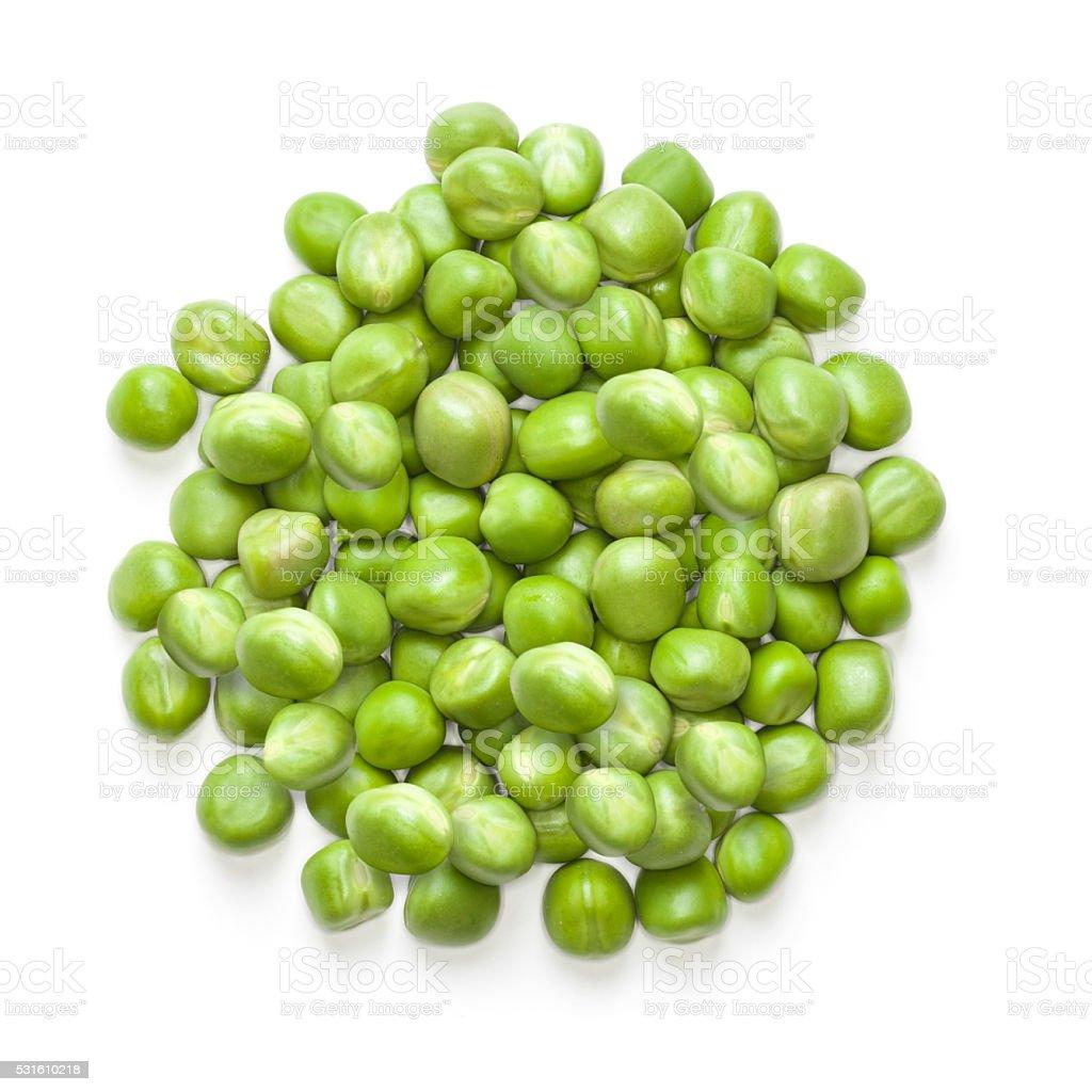 fresh green peas isolated on white background stock photo