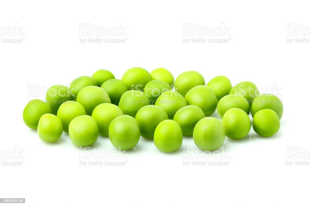Fresh green peas isolated. stock photo