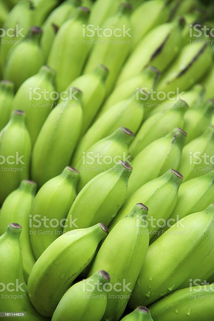 Fresh Green Plantain Banana Bunch Full Frame stock photo