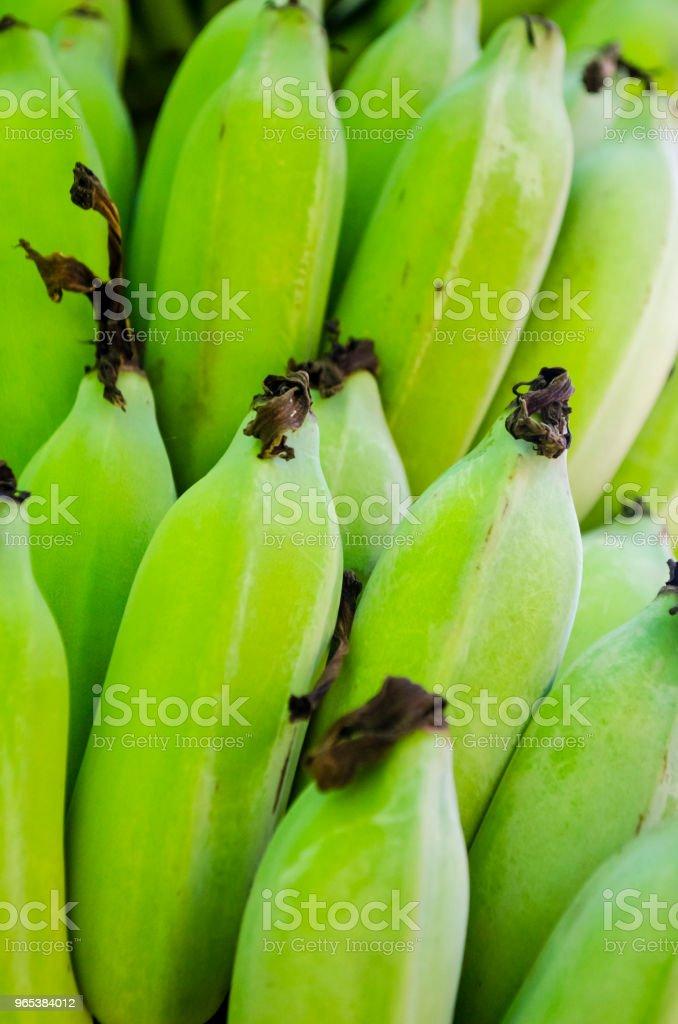 Fresh Green Plantain Banana Bunch Full Frame royalty-free stock photo