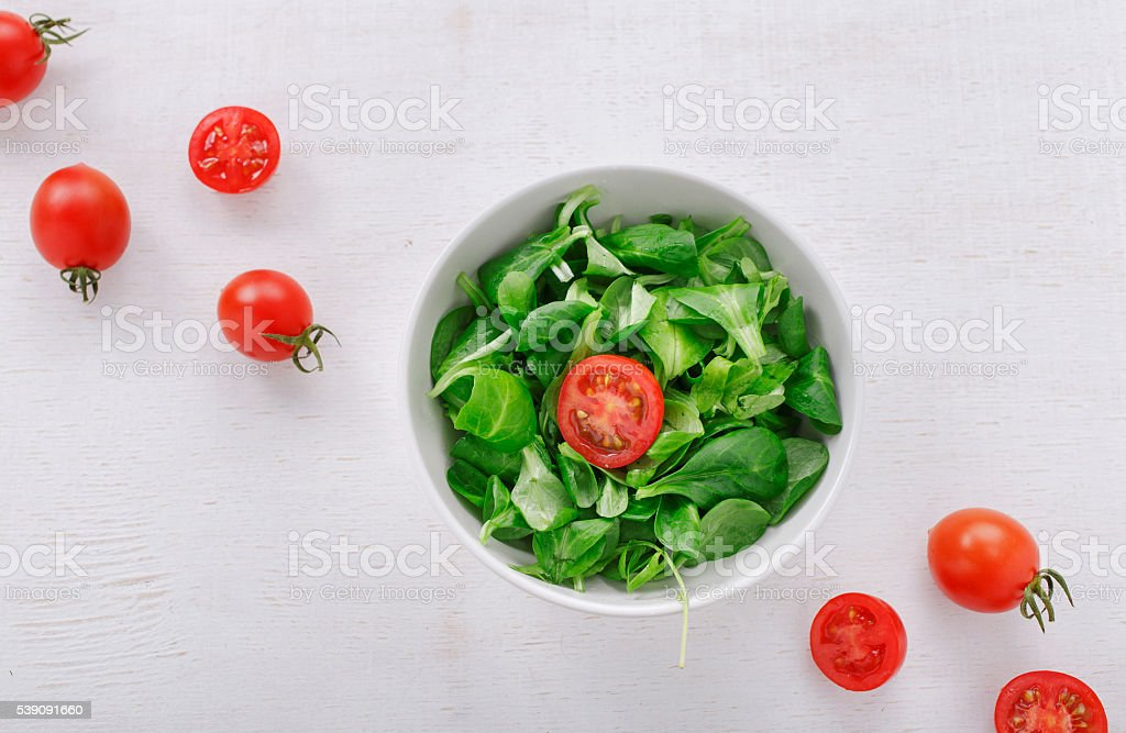 fresh green salad leaves corn stock photo