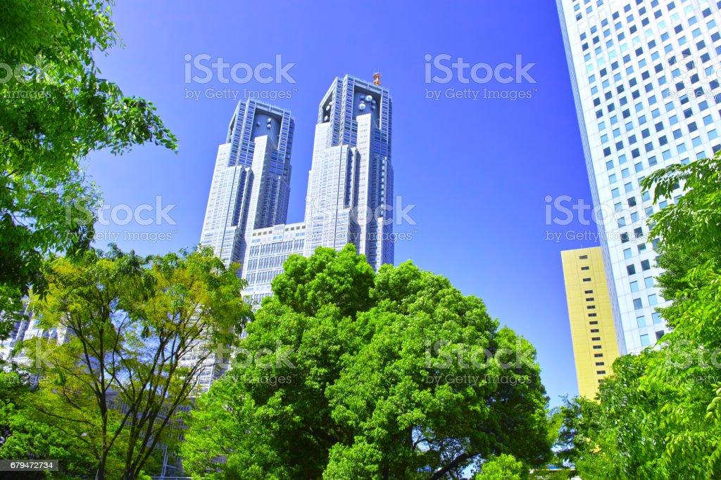 Fresh green Shinjuku Tokyo Government building royalty-free stock photo