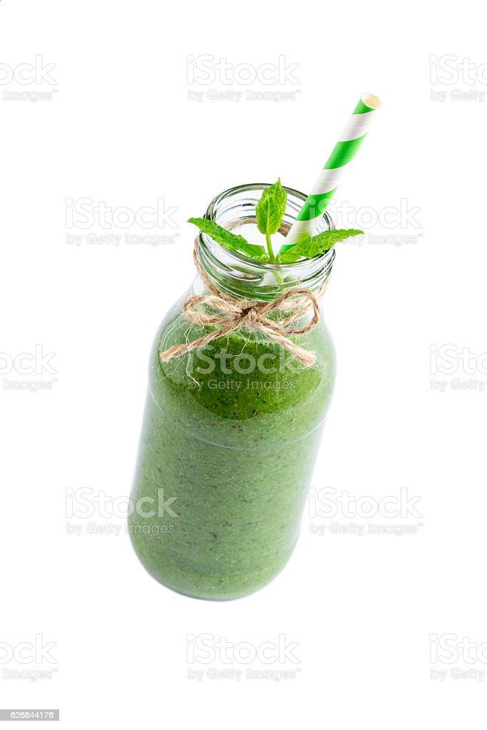 Fresh green smoothie stock photo
